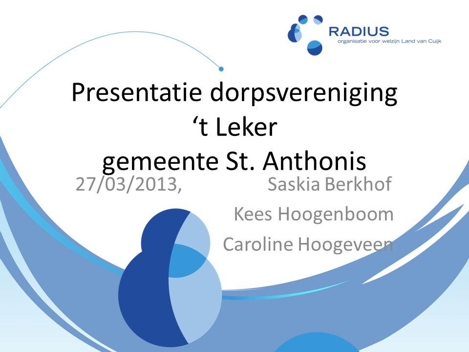 Presentatie dorpsvereniging 't Leker gemeente St.