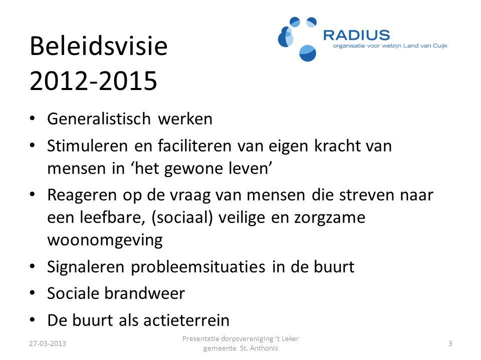 Beleidsvisie 2012-2015 27-03-2013 Presentatie dorpsvereniging 't Leker gemeente St.