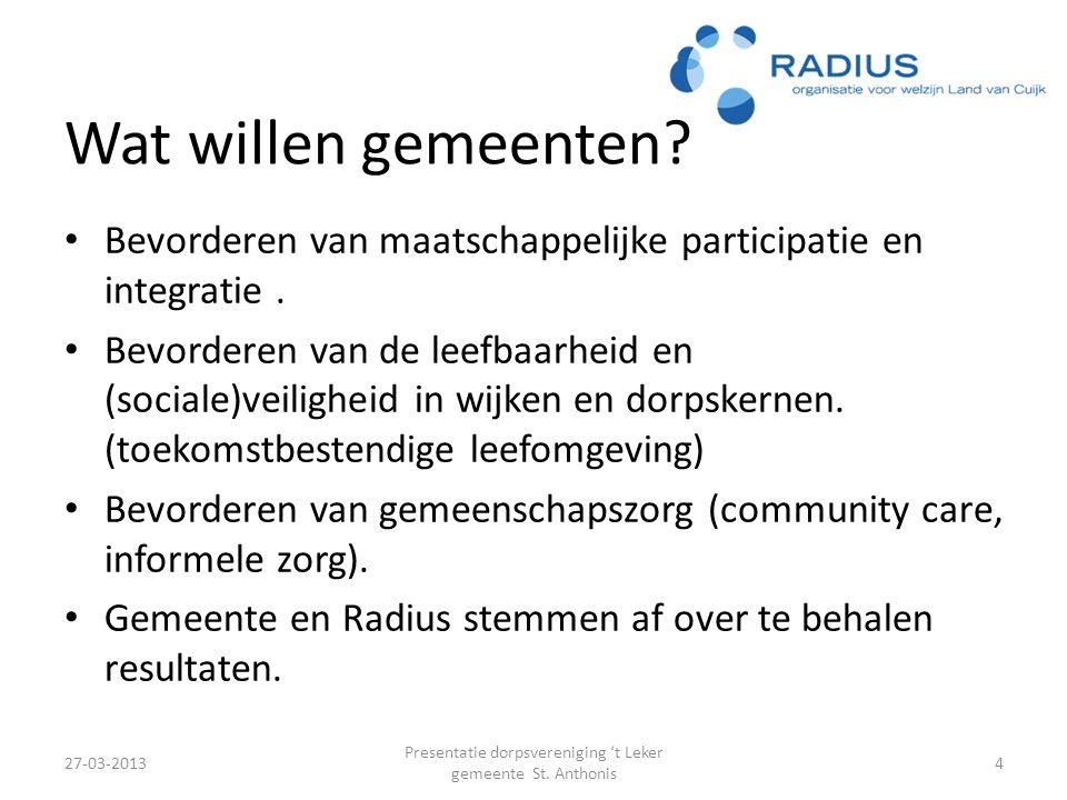 Wat willen gemeenten.Bevorderen van maatschappelijke participatie en integratie.