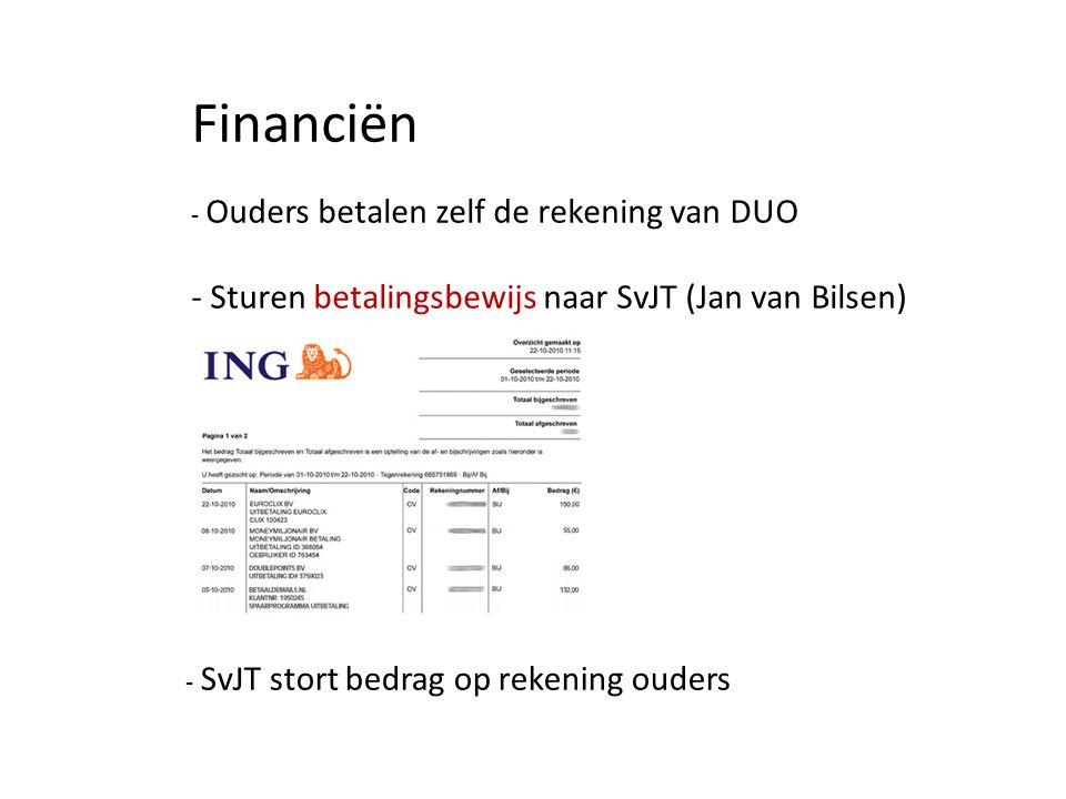 Financiën - Ouders betalen zelf de rekening van DUO - Sturen betalingsbewijs naar SvJT (Jan van Bilsen) - SvJT stort bedrag op rekening ouders