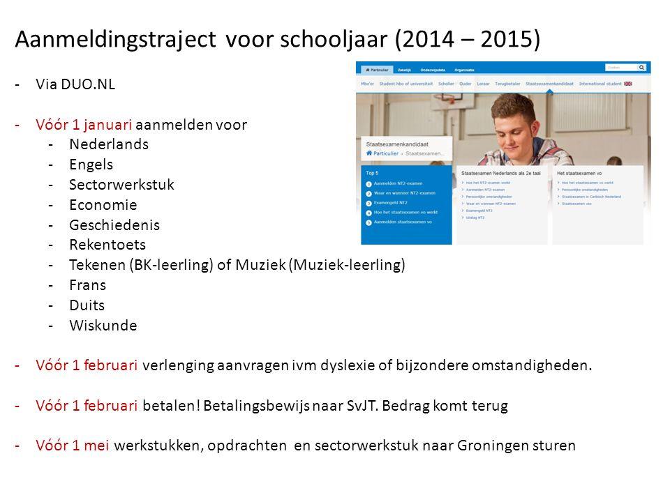 Aanmeldingstraject voor schooljaar (2014 – 2015) -Via DUO.NL -Vóór 1 januari aanmelden voor -Nederlands -Engels -Sectorwerkstuk -Economie -Geschiedenis -Rekentoets -Tekenen (BK-leerling) of Muziek (Muziek-leerling) -Frans -Duits -Wiskunde -Vóór 1 februari verlenging aanvragen ivm dyslexie of bijzondere omstandigheden.