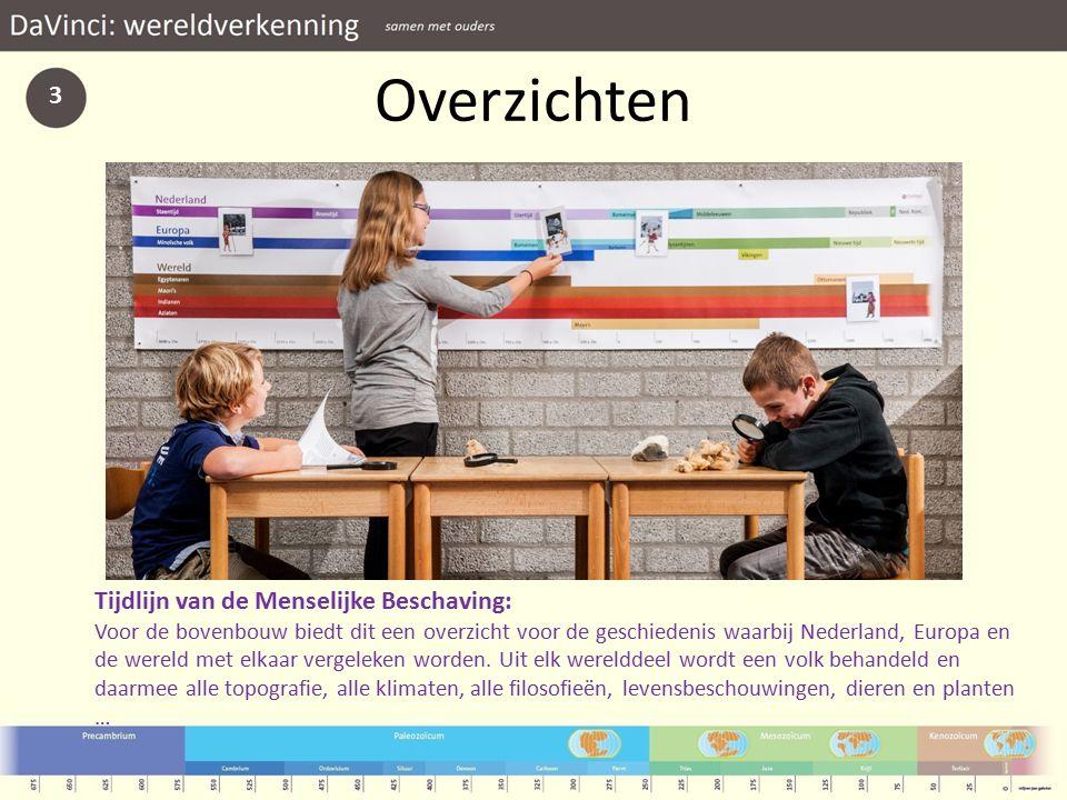 Overzichten 3 Tijdlijn van de Menselijke Beschaving: Voor de bovenbouw biedt dit een overzicht voor de geschiedenis waarbij Nederland, Europa en de wereld met elkaar vergeleken worden.