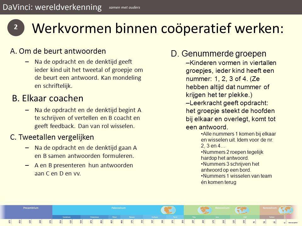 Werkvormen binnen coöperatief werken: A.
