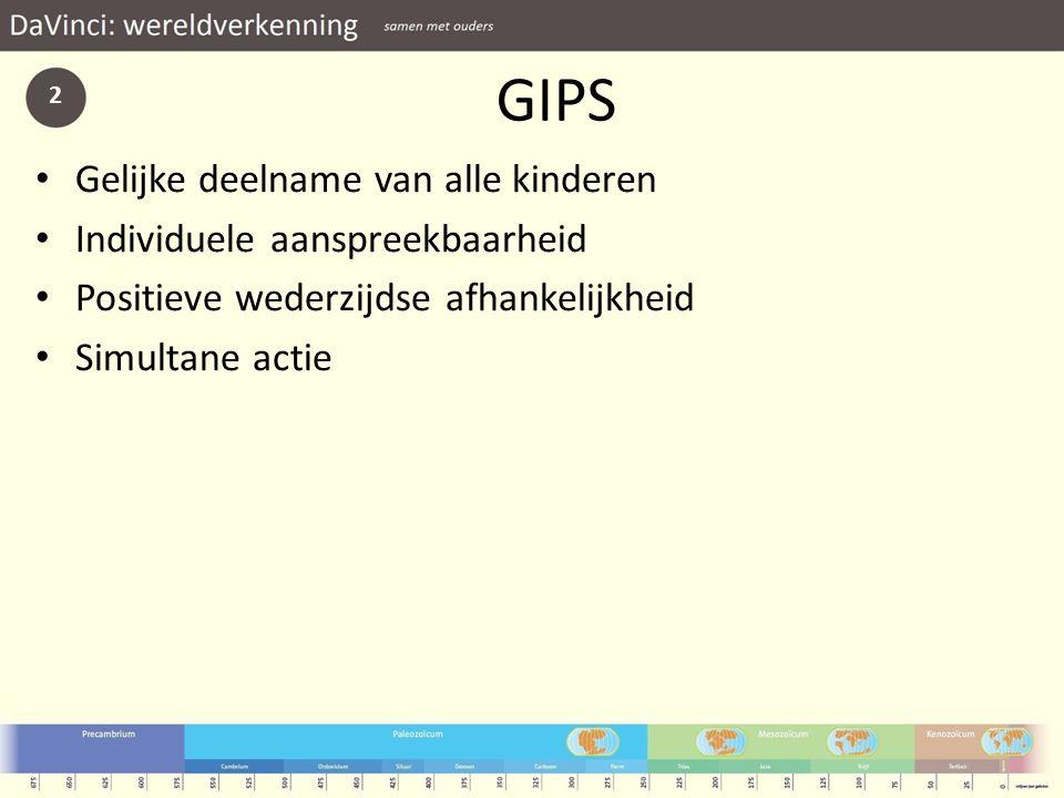 GIPS Gelijke deelname van alle kinderen Individuele aanspreekbaarheid Positieve wederzijdse afhankelijkheid Simultane actie 2