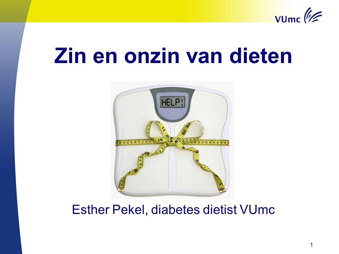 1 Zin en onzin van dieten Esther Pekel, diabetes dietist VUmc