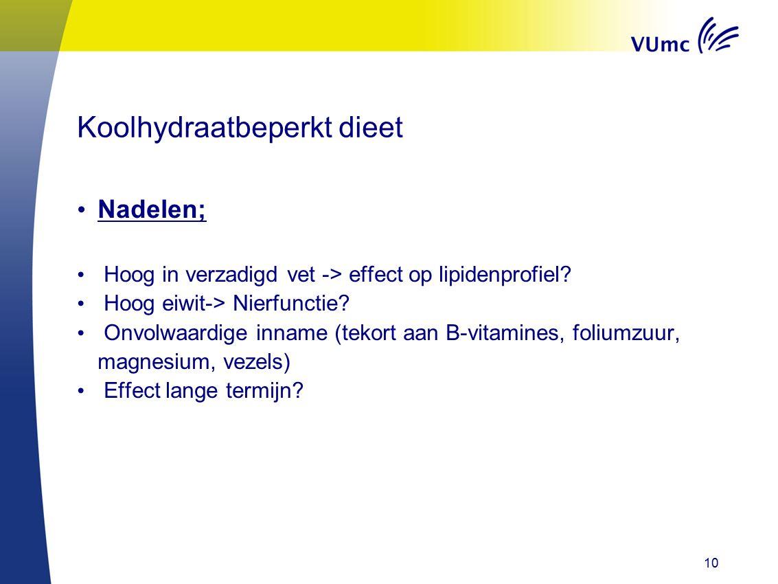 10 Koolhydraatbeperkt dieet Nadelen; Hoog in verzadigd vet -> effect op lipidenprofiel? Hoog eiwit-> Nierfunctie? Onvolwaardige inname (tekort aan B-v