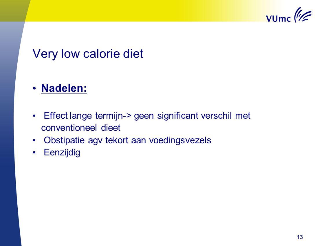 13 Very low calorie diet Nadelen: Effect lange termijn-> geen significant verschil met conventioneel dieet Obstipatie agv tekort aan voedingsvezels Ee
