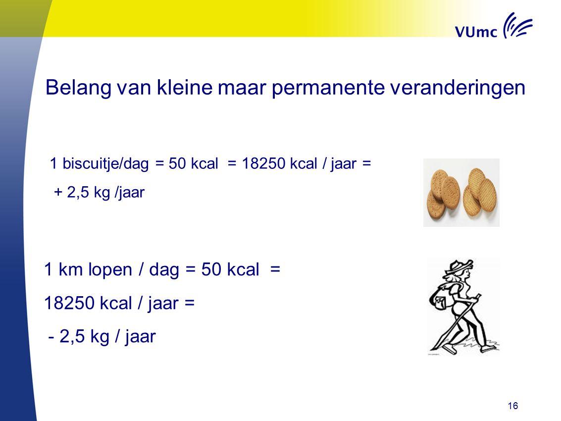 16 Belang van kleine maar permanente veranderingen 1 biscuitje/dag = 50 kcal = 18250 kcal / jaar = + 2,5 kg /jaar 1 km lopen / dag = 50 kcal = 18250 kcal / jaar = - 2,5 kg / jaar