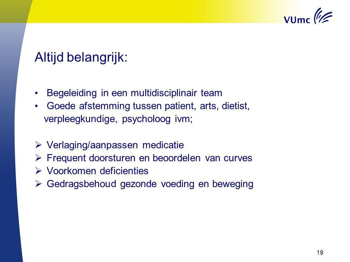 19 Altijd belangrijk: Begeleiding in een multidisciplinair team Goede afstemming tussen patient, arts, dietist, verpleegkundige, psycholoog ivm;  Ver