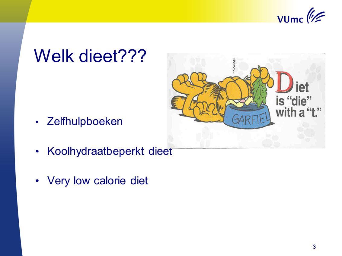 3 Welk dieet??? Zelfhulpboeken Koolhydraatbeperkt dieet Very low calorie diet