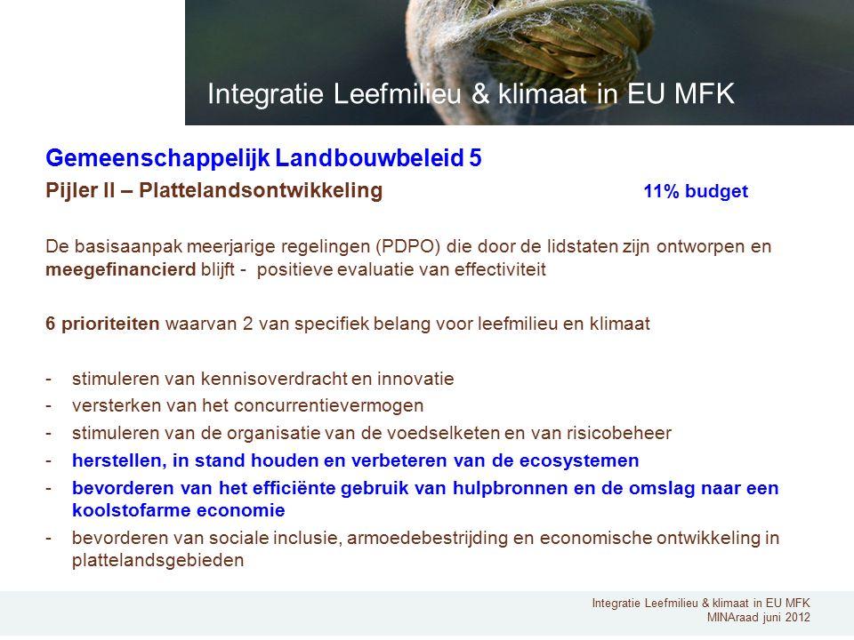 Integratie Leefmilieu & klimaat in EU MFK MINAraad juni 2012 Gemeenschappelijk Landbouwbeleid 5 Pijler II – Plattelandsontwikkeling 11% budget De basisaanpak meerjarige regelingen (PDPO) die door de lidstaten zijn ontworpen en meegefinancierd blijft - positieve evaluatie van effectiviteit 6 prioriteiten waarvan 2 van specifiek belang voor leefmilieu en klimaat -stimuleren van kennisoverdracht en innovatie -versterken van het concurrentievermogen -stimuleren van de organisatie van de voedselketen en van risicobeheer -herstellen, in stand houden en verbeteren van de ecosystemen -bevorderen van het efficiënte gebruik van hulpbronnen en de omslag naar een koolstofarme economie -bevorderen van sociale inclusie, armoedebestrijding en economische ontwikkeling in plattelandsgebieden Integratie Leefmilieu & klimaat in EU MFK