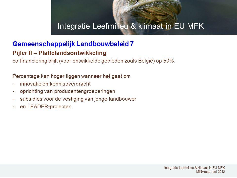 Integratie Leefmilieu & klimaat in EU MFK MINAraad juni 2012 Gemeenschappelijk Landbouwbeleid 7 Pijler II – Plattelandsontwikkeling co-financiering blijft (voor ontwikkelde gebieden zoals België) op 50%.