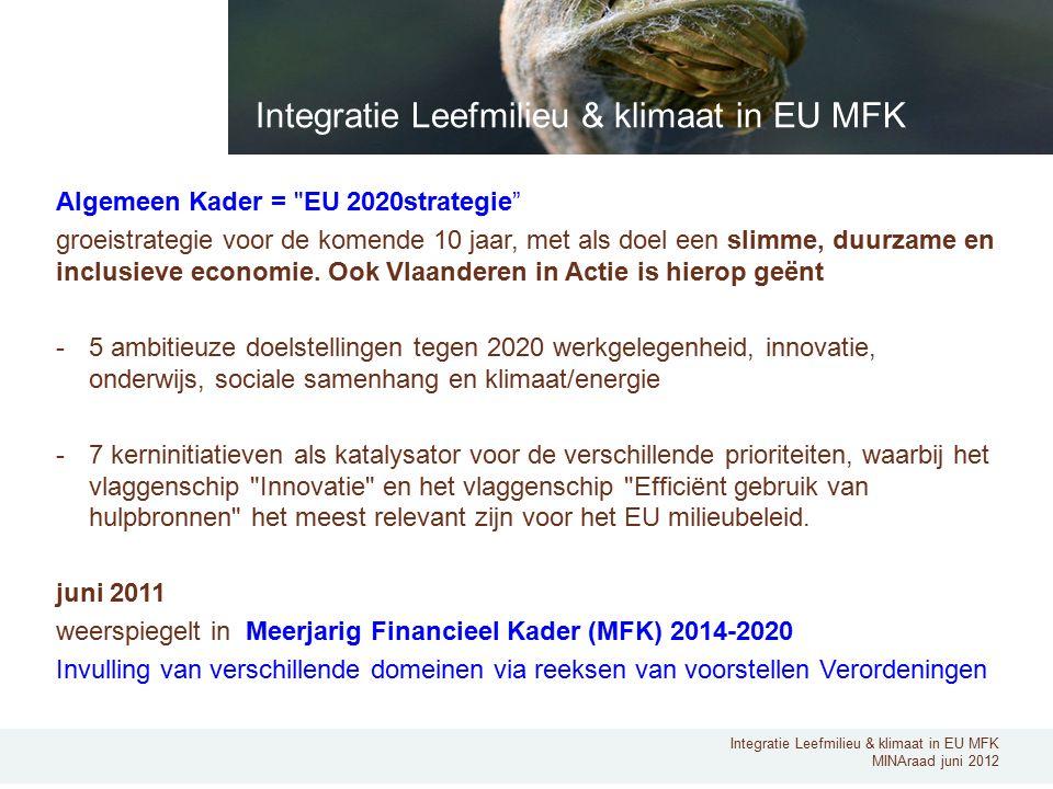 Integratie Leefmilieu & klimaat in EU MFK MINAraad juni 2012 Algemeen Kader = EU 2020strategie groeistrategie voor de komende 10 jaar, met als doel een slimme, duurzame en inclusieve economie.
