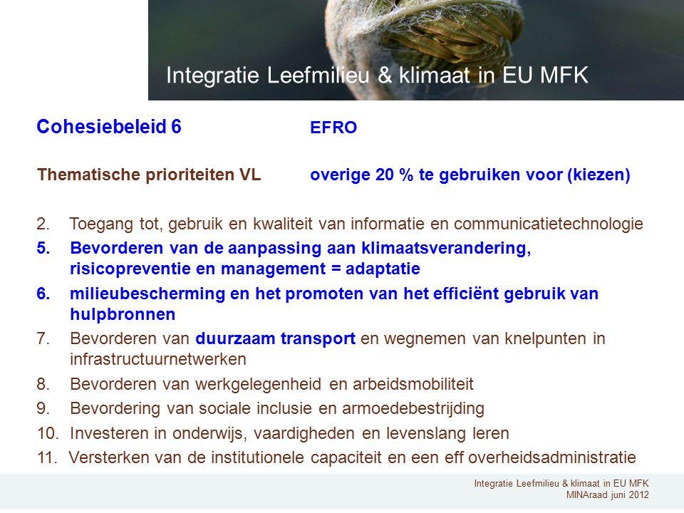 Integratie Leefmilieu & klimaat in EU MFK MINAraad juni 2012 Cohesiebeleid 6 EFRO Thematische prioriteiten VL overige 20 % te gebruiken voor (kiezen) 2.