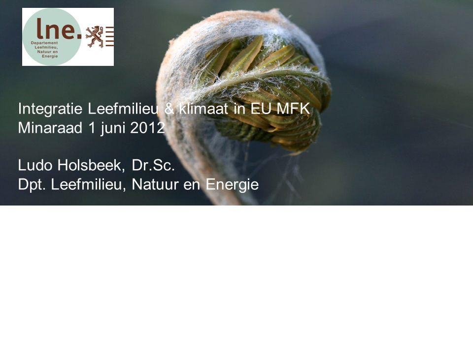Integratie Leefmilieu & klimaat in EU MFK Minaraad 1 juni 2012 Ludo Holsbeek, Dr.Sc.