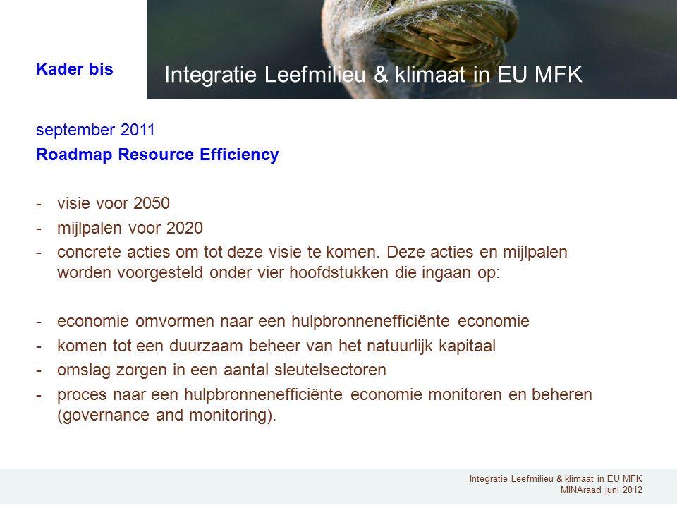 Integratie Leefmilieu & klimaat in EU MFK MINAraad juni 2012 september 2011 Roadmap Resource Efficiency -visie voor 2050 -mijlpalen voor 2020 -concret