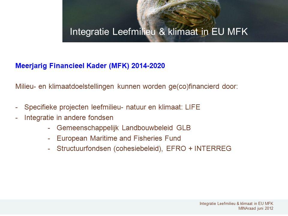 Integratie Leefmilieu & klimaat in EU MFK MINAraad juni 2012 Meerjarig Financieel Kader (MFK) 2014-2020 Milieu- en klimaatdoelstellingen kunnen worden ge(co)financierd door: -Specifieke projecten leefmilieu- natuur en klimaat: LIFE -Integratie in andere fondsen -Gemeenschappelijk Landbouwbeleid GLB -European Maritime and Fisheries Fund -Structuurfondsen (cohesiebeleid), EFRO + INTERREG Integratie Leefmilieu & klimaat in EU MFK