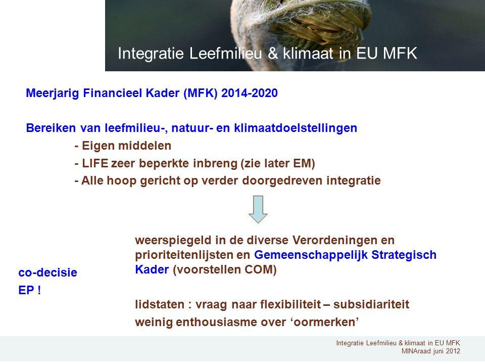 Integratie Leefmilieu & klimaat in EU MFK MINAraad juni 2012 Meerjarig Financieel Kader (MFK) 2014-2020 Bereiken van leefmilieu-, natuur- en klimaatdoelstellingen - Eigen middelen - LIFE zeer beperkte inbreng (zie later EM) - Alle hoop gericht op verder doorgedreven integratie Integratie Leefmilieu & klimaat in EU MFK weerspiegeld in de diverse Verordeningen en prioriteitenlijsten en Gemeenschappelijk Strategisch Kader (voorstellen COM) lidstaten : vraag naar flexibiliteit – subsidiariteit weinig enthousiasme over 'oormerken' co-decisie EP !
