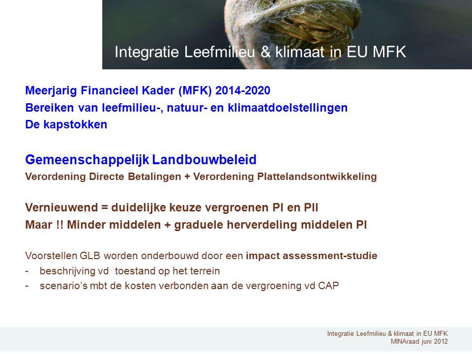 Integratie Leefmilieu & klimaat in EU MFK MINAraad juni 2012 Meerjarig Financieel Kader (MFK) 2014-2020 Bereiken van leefmilieu-, natuur- en klimaatdoelstellingen De kapstokken Gemeenschappelijk Landbouwbeleid Verordening Directe Betalingen + Verordening Plattelandsontwikkeling Vernieuwend = duidelijke keuze vergroenen PI en PII Maar !.