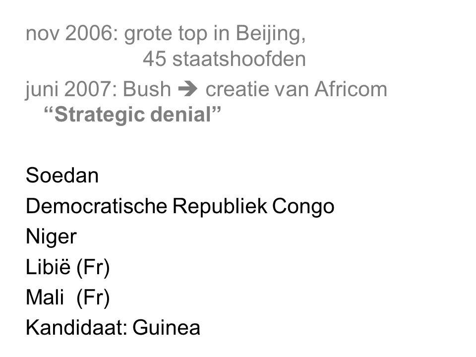 nov 2006: grote top in Beijing, 45 staatshoofden juni 2007: Bush  creatie van Africom Strategic denial Soedan Democratische Republiek Congo Niger Libië (Fr) Mali (Fr) Kandidaat: Guinea