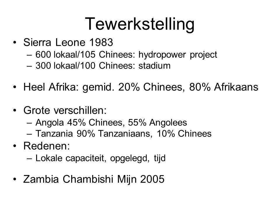 Tewerkstelling Sierra Leone 1983 –600 lokaal/105 Chinees: hydropower project –300 lokaal/100 Chinees: stadium Heel Afrika: gemid.