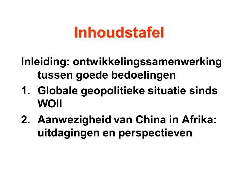  afwijkend van mainstream (eurocentrisme)  eerder door ogen van China, Afrika  zo betrouwbare bronnen mogelijke: UNDP, Unicef, FAO, ILO, WB, The Economist, FT, …  feiten argumenten Invalshoek kwaliteit oordeel 