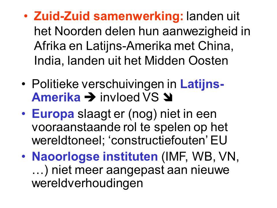 Zuid-Zuid samenwerking: landen uit het Noorden delen hun aanwezigheid in Afrika en Latijns-Amerika met China, India, landen uit het Midden Oosten Politieke verschuivingen in Latijns- Amerika  invloed VS  Europa slaagt er (nog) niet in een vooraanstaande rol te spelen op het wereldtoneel; 'constructiefouten' EU Naoorlogse instituten (IMF, WB, VN, …) niet meer aangepast aan nieuwe wereldverhoudingen