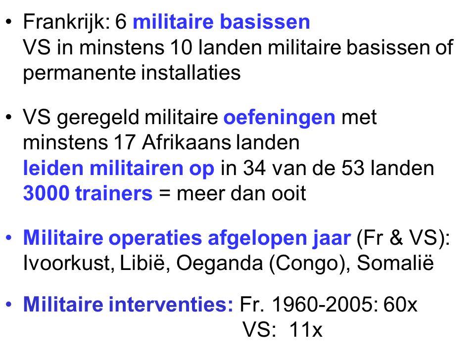 Frankrijk: 6 militaire basissen VS in minstens 10 landen militaire basissen of permanente installaties VS geregeld militaire oefeningen met minstens 17 Afrikaans landen leiden militairen op in 34 van de 53 landen 3000 trainers = meer dan ooit Militaire operaties afgelopen jaar (Fr & VS): Ivoorkust, Libië, Oeganda (Congo), Somalië Militaire interventies: Fr.