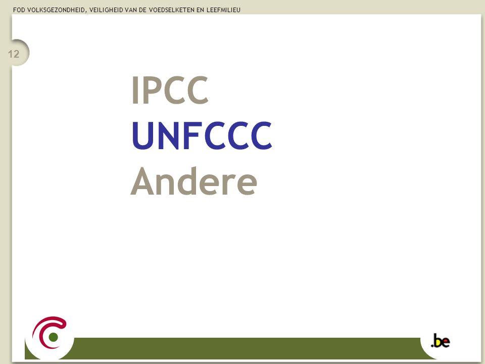 FOD VOLKSGEZONDHEID, VEILIGHEID VAN DE VOEDSELKETEN EN LEEFMILIEU 12 IPCC UNFCCC Andere