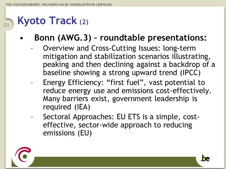 FOD VOLKSGEZONDHEID, VEILIGHEID VAN DE VOEDSELKETEN EN LEEFMILIEU 23 Kyoto Track (2) Bonn (AWG.3) – roundtable presentations: –Overview and Cross-Cutt
