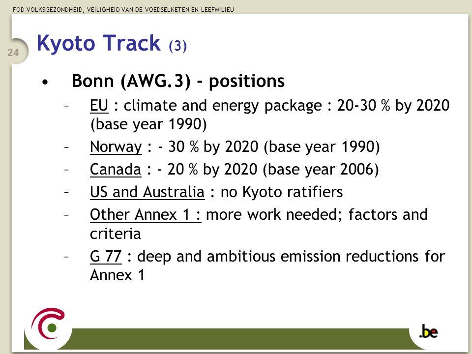 FOD VOLKSGEZONDHEID, VEILIGHEID VAN DE VOEDSELKETEN EN LEEFMILIEU 24 Kyoto Track (3) Bonn (AWG.3) - positions –EU : climate and energy package : 20-30