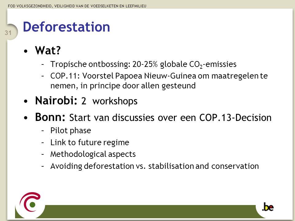 FOD VOLKSGEZONDHEID, VEILIGHEID VAN DE VOEDSELKETEN EN LEEFMILIEU 31 Wat? –Tropische ontbossing: 20-25% globale CO 2 -emissies –COP.11: Voorstel Papoe