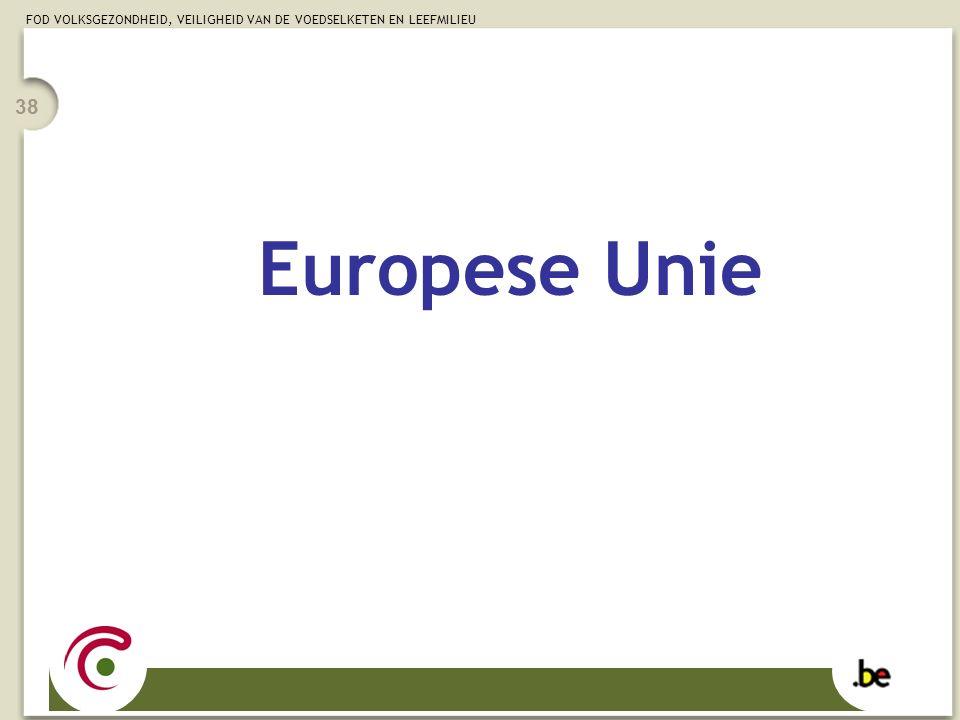 FOD VOLKSGEZONDHEID, VEILIGHEID VAN DE VOEDSELKETEN EN LEEFMILIEU 38 Europese Unie