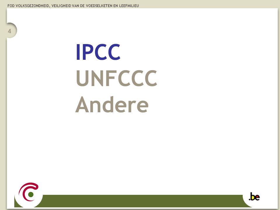 FOD VOLKSGEZONDHEID, VEILIGHEID VAN DE VOEDSELKETEN EN LEEFMILIEU 4 IPCC UNFCCC Andere