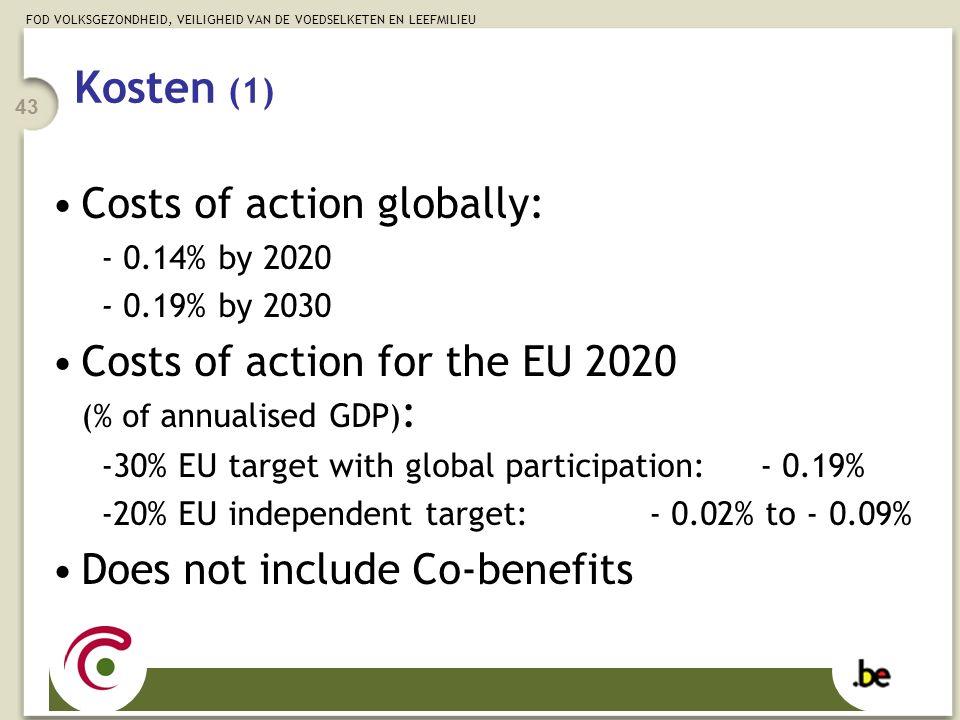FOD VOLKSGEZONDHEID, VEILIGHEID VAN DE VOEDSELKETEN EN LEEFMILIEU 43 Kosten (1) Costs of action globally: - 0.14% by 2020 - 0.19% by 2030 Costs of act