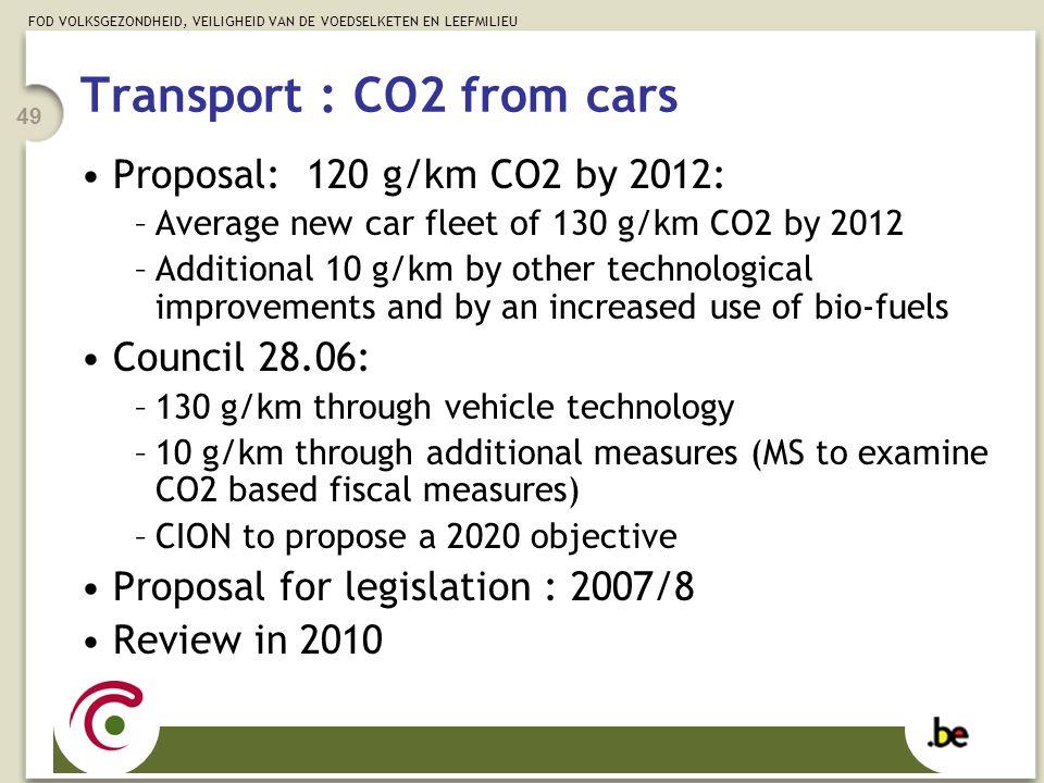FOD VOLKSGEZONDHEID, VEILIGHEID VAN DE VOEDSELKETEN EN LEEFMILIEU 49 Transport : CO2 from cars Proposal: 120 g/km CO2 by 2012: –Average new car fleet