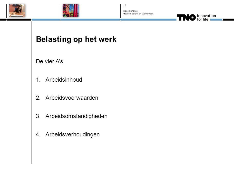 Belasting op het werk De vier A's: 1.Arbeidsinhoud 2.Arbeidsvoorwaarden 3.Arbeidsomstandigheden 4.Arbeidsverhoudingen 13 Roos Schelvis Gezond beleid en Werkstress