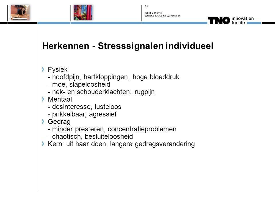 Herkennen - Stresssignalen individueel Fysiek - hoofdpijn, hartkloppingen, hoge bloeddruk - moe, slapeloosheid - nek- en schouderklachten, rugpijn Mentaal - desinteresse, lusteloos - prikkelbaar, agressief Gedrag - minder presteren, concentratieproblemen - chaotisch, besluiteloosheid Kern: uit haar doen, langere gedragsverandering 15 Roos Schelvis Gezond beleid en Werkstress