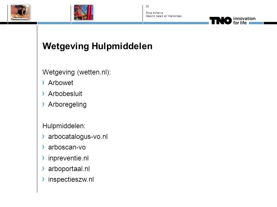 Wetgeving Hulpmiddelen Wetgeving (wetten.nl): Arbowet Arbobesluit Arboregeling Hulpmiddelen: arbocatalogus-vo.nl arboscan-vo inpreventie.nl arboportaal.nl inspectieszw.nl 22 Roos Schelvis Gezond beleid en Werkstress