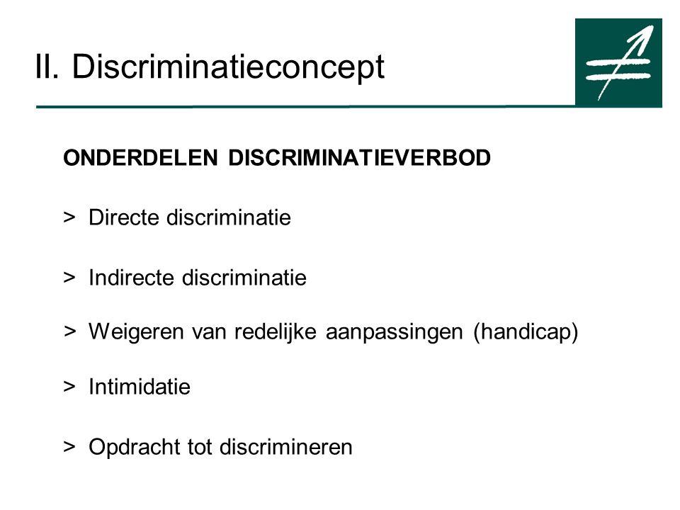 ONDERDELEN DISCRIMINATIEVERBOD > Directe discriminatie > Indirecte discriminatie >Weigeren van redelijke aanpassingen (handicap) >Intimidatie >Opdracht tot discrimineren
