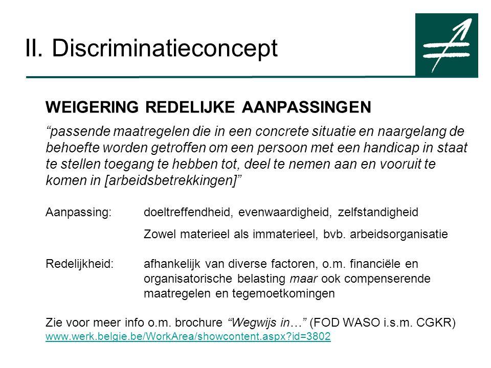 """II. Discriminatieconcept WEIGERING REDELIJKE AANPASSINGEN """"passende maatregelen die in een concrete situatie en naargelang de behoefte worden getroffe"""