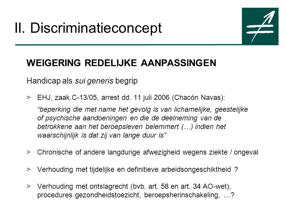 II. Discriminatieconcept WEIGERING REDELIJKE AANPASSINGEN Handicap als sui generis begrip >EHJ, zaak C-13/05, arrest dd. 11 juli 2006 (Chacón Navas):