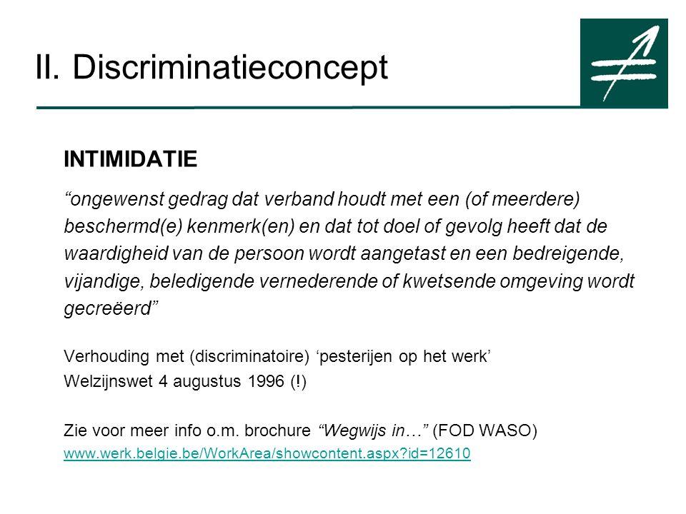 """II. Discriminatieconcept INTIMIDATIE """"ongewenst gedrag dat verband houdt met een (of meerdere) beschermd(e) kenmerk(en) en dat tot doel of gevolg heef"""