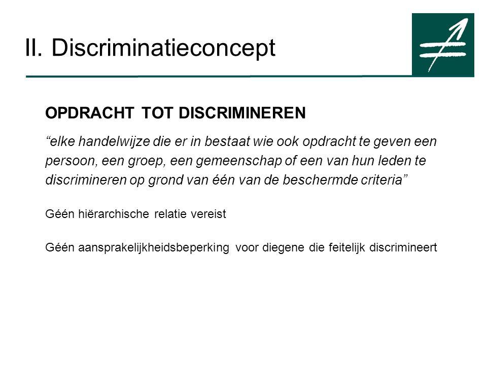 """II. Discriminatieconcept OPDRACHT TOT DISCRIMINEREN """"elke handelwijze die er in bestaat wie ook opdracht te geven een persoon, een groep, een gemeensc"""