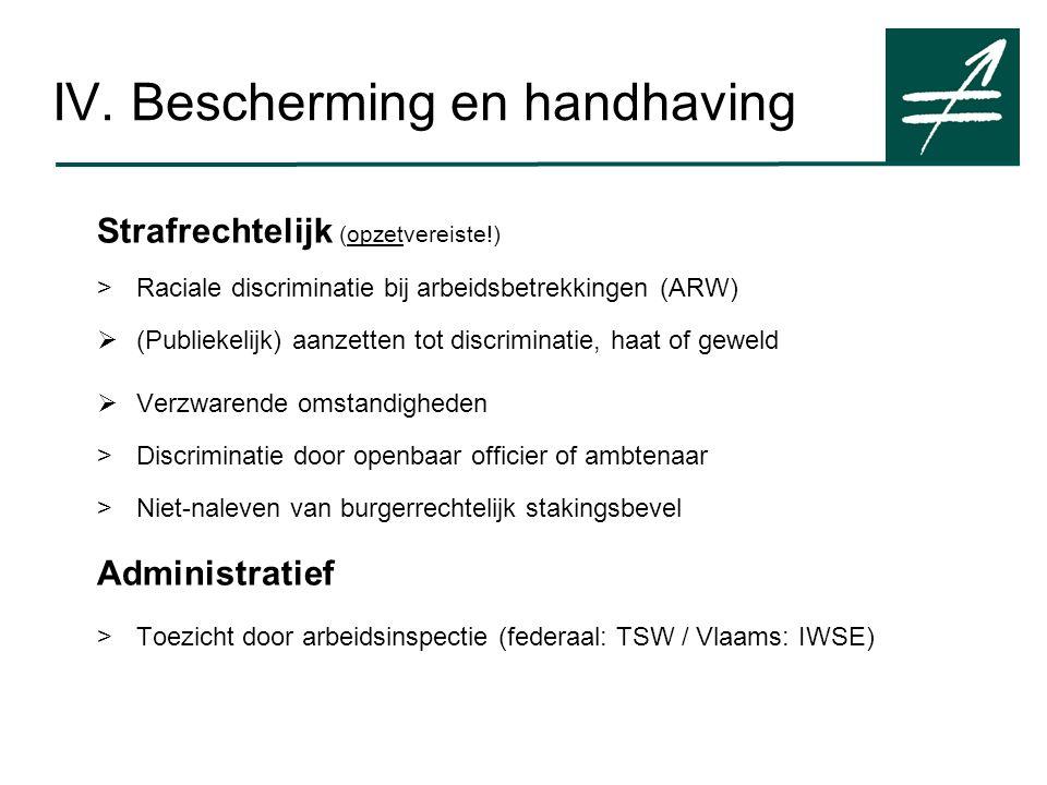 IV. Bescherming en handhaving Strafrechtelijk (opzetvereiste!) >Raciale discriminatie bij arbeidsbetrekkingen (ARW)  (Publiekelijk) aanzetten tot dis