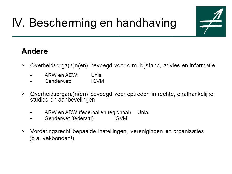 IV. Bescherming en handhaving Andere > Overheidsorga(a)n(en) bevoegd voor o.m.