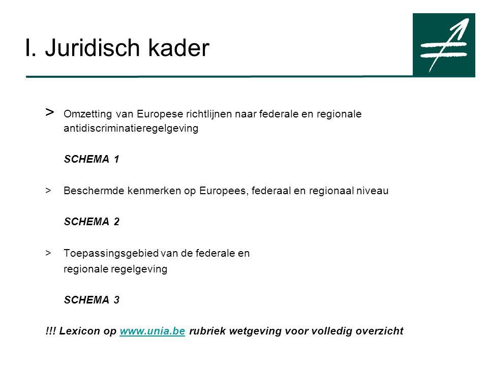 > Omzetting van Europese richtlijnen naar federale en regionale antidiscriminatieregelgeving SCHEMA 1 >Beschermde kenmerken op Europees, federaal en regionaal niveau SCHEMA 2 >Toepassingsgebied van de federale en regionale regelgeving SCHEMA 3 !!.