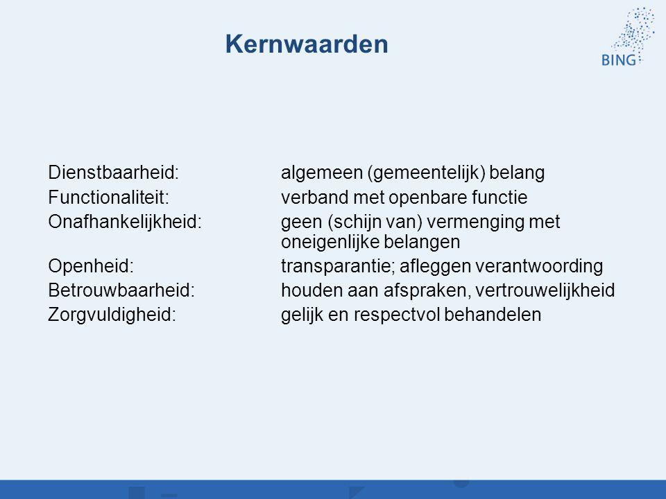 Kernwaarden Dienstbaarheid: algemeen (gemeentelijk) belang Functionaliteit: verband met openbare functie Onafhankelijkheid: geen (schijn van) vermengi