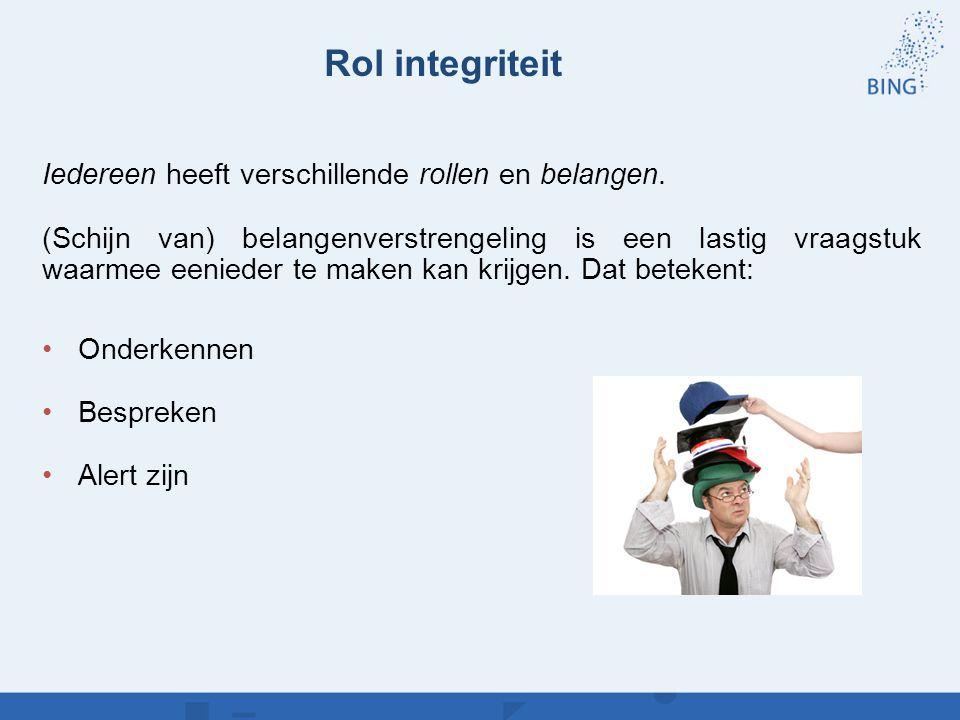 Rol integriteit Iedereen heeft verschillende rollen en belangen. (Schijn van) belangenverstrengeling is een lastig vraagstuk waarmee eenieder te maken