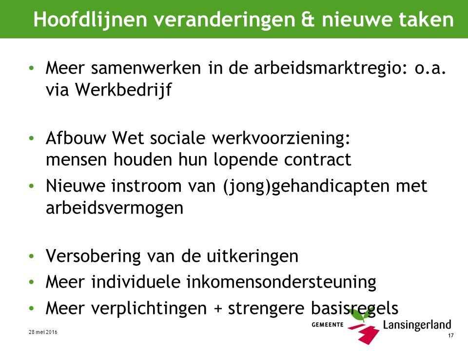 17 Hoofdlijnen veranderingen & nieuwe taken Meer samenwerken in de arbeidsmarktregio: o.a.